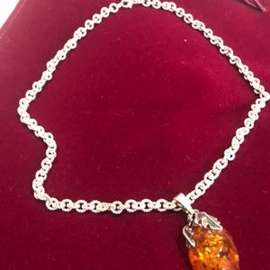 Sterling silver chain and Polish amber pendant